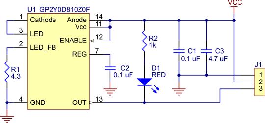 sharp gp2y0d815z0f kızılötesi sensör 15 cm - pl-2465 devre şeması